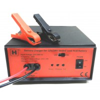 12V/ 24V Adjustable Sealed Lead Acid Battery Charger with Alligator Clips
