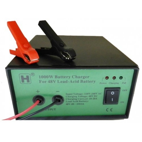 1000W (48V) Sealed Lead-Acid Battery Charger with Alligator Clip